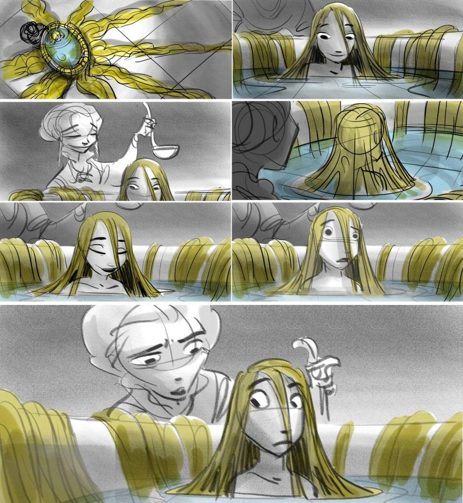 Seven panels of storyboard from the movie Tangled