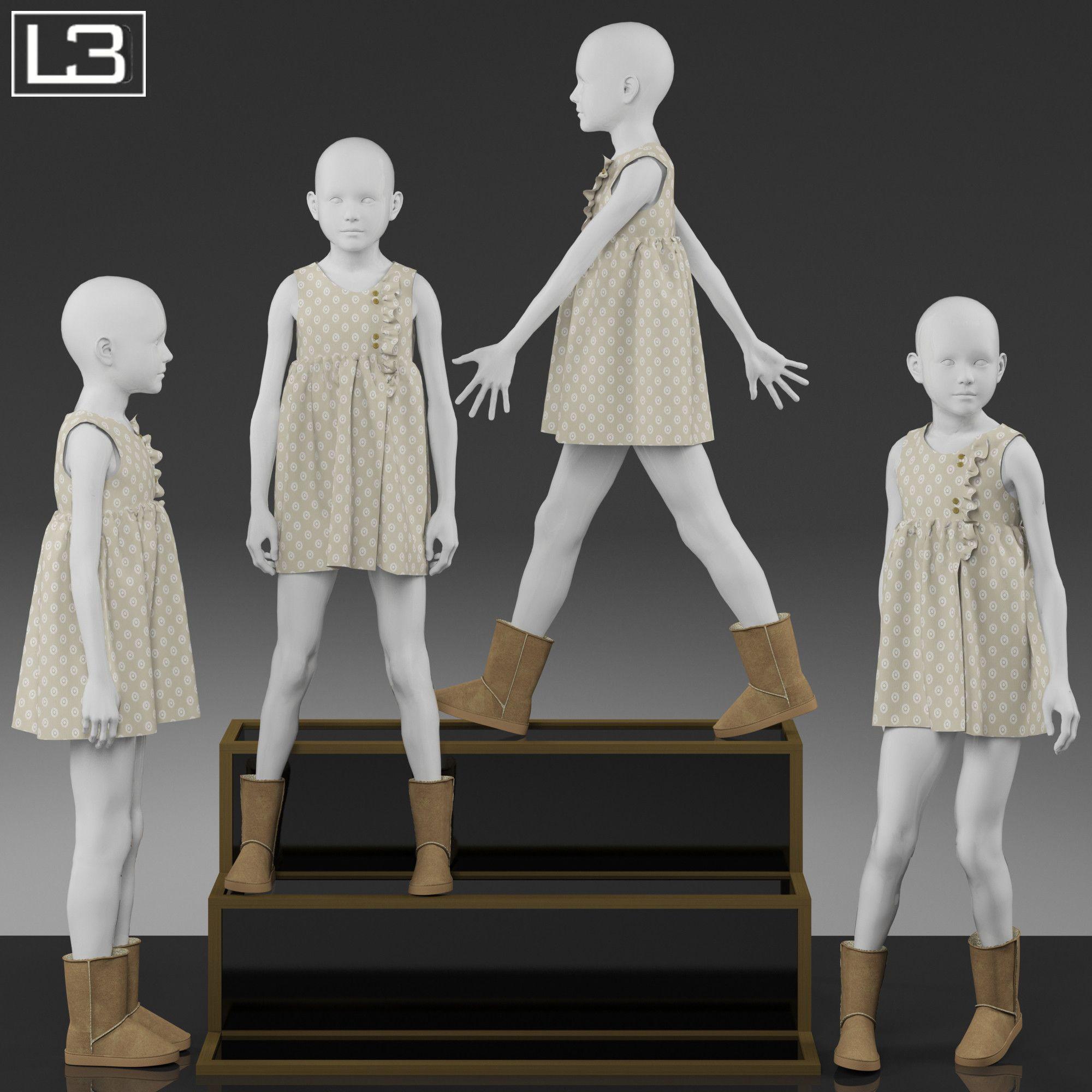 Kid Mannequin Clothes 3d Max Kids