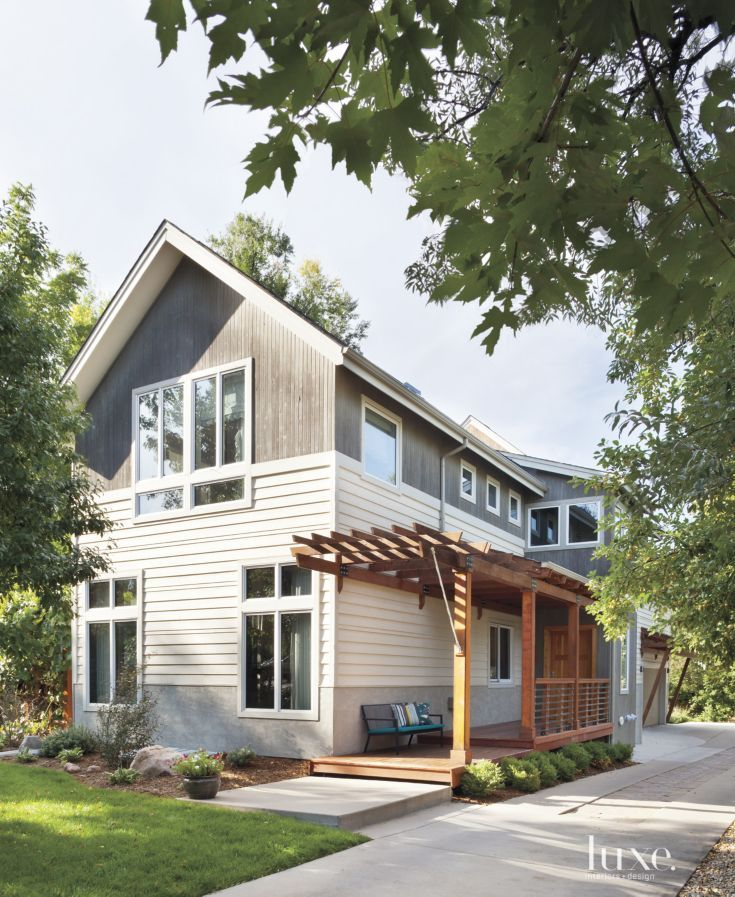 Gray Modernist-Style Farmhouse Front Elevation