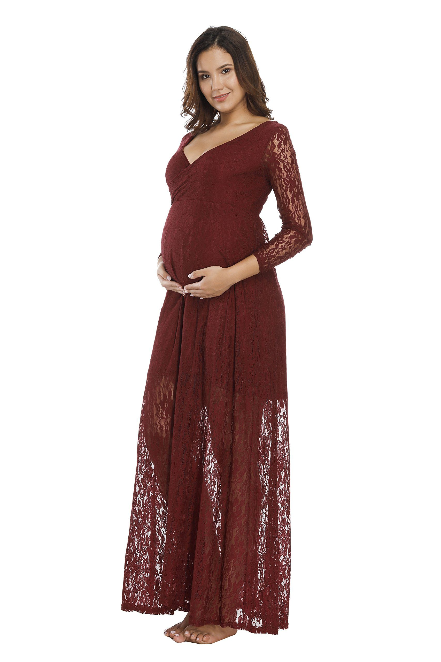 5e181b379479a Maternity Dresses - JustVH Womens Plus Size Cross V Neck Long Sleeve Lace  Gown Maxi Maternity Dress for Photography *** Continue to the product at  the image ...