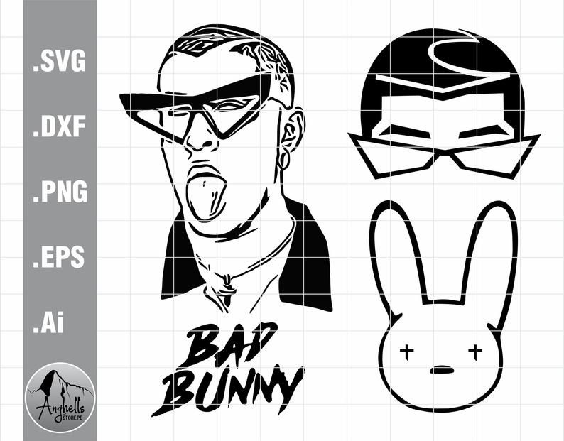 Bad Bunny Svg Bad Bunny Logo Svg Bad Bunny Face Svg Bad Etsy In 2020 Bunny Svg Bunny Face Svg