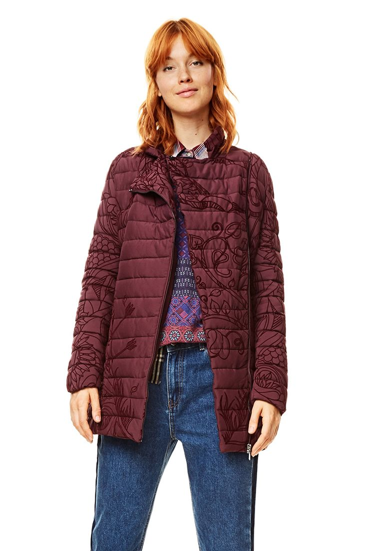 On Print Women's Colored Plum With Coat Tone Long Desigual CqfTxwgq