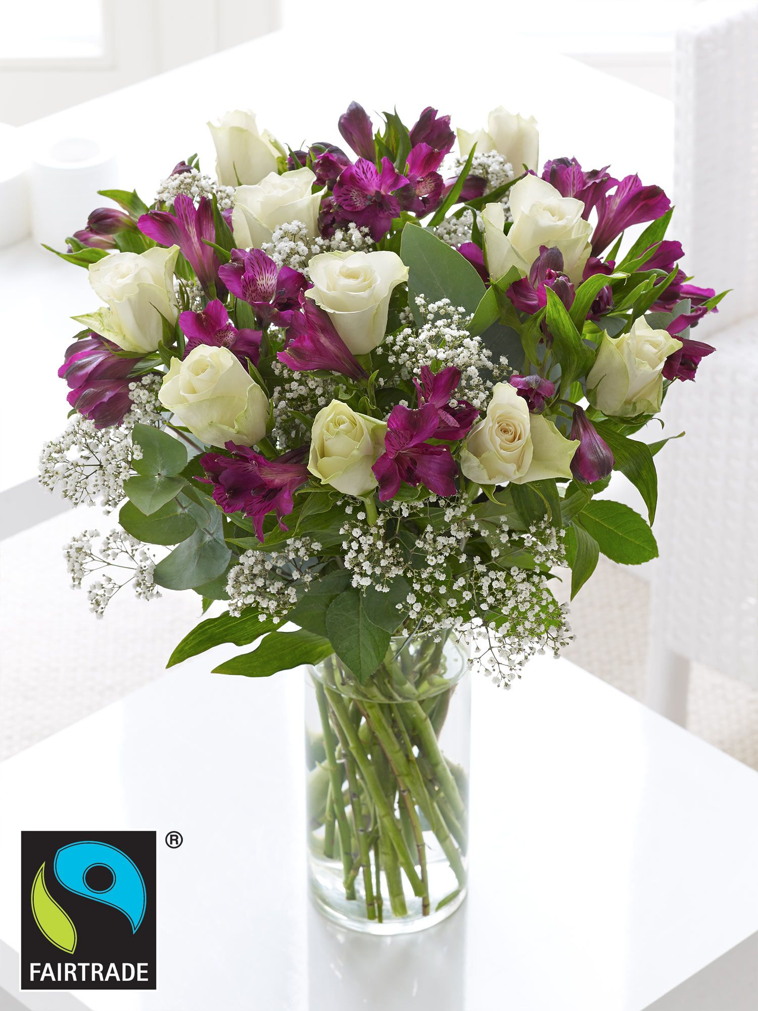 Interflora Fairtrade White Rose And Alstromeria Hand Tied Available
