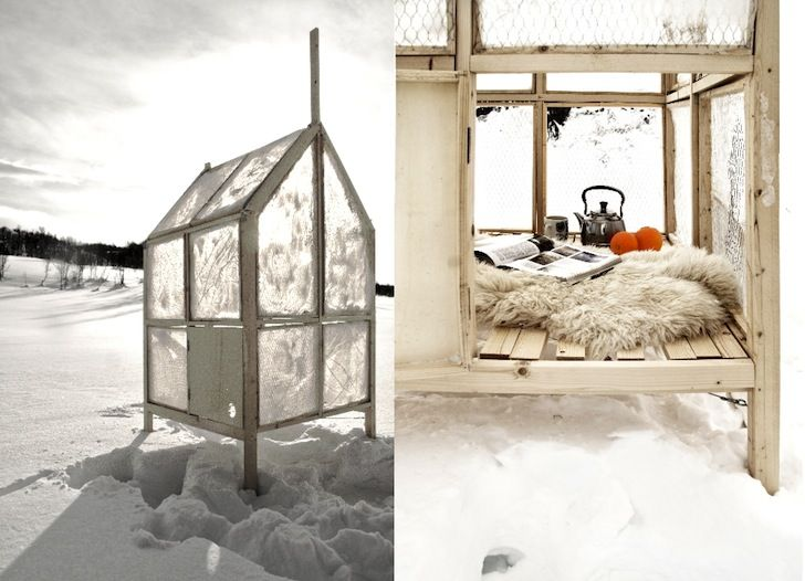 gartnerfuglen's portable fishing shack has walls made of ice | walls