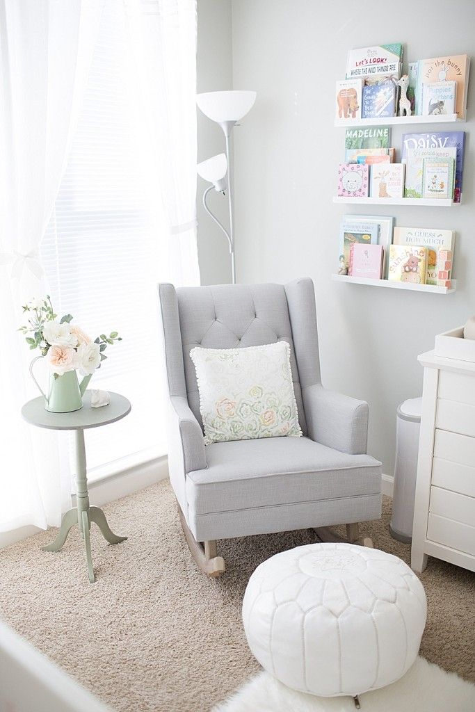 Chairs For Baby Room Aeron Chair Lumbar Support Soft And Feminine Garden Nursery Tour Design Decoration Gray White Reading Nook Rocker Rocking