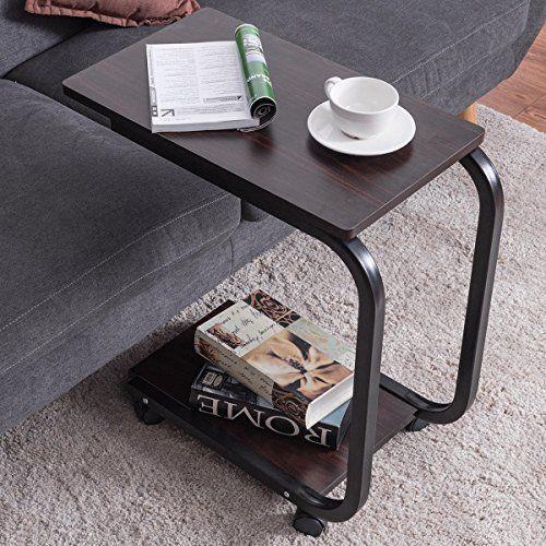 2 Tier UShaped Sofa Side End Coffee Table Tray U shaped