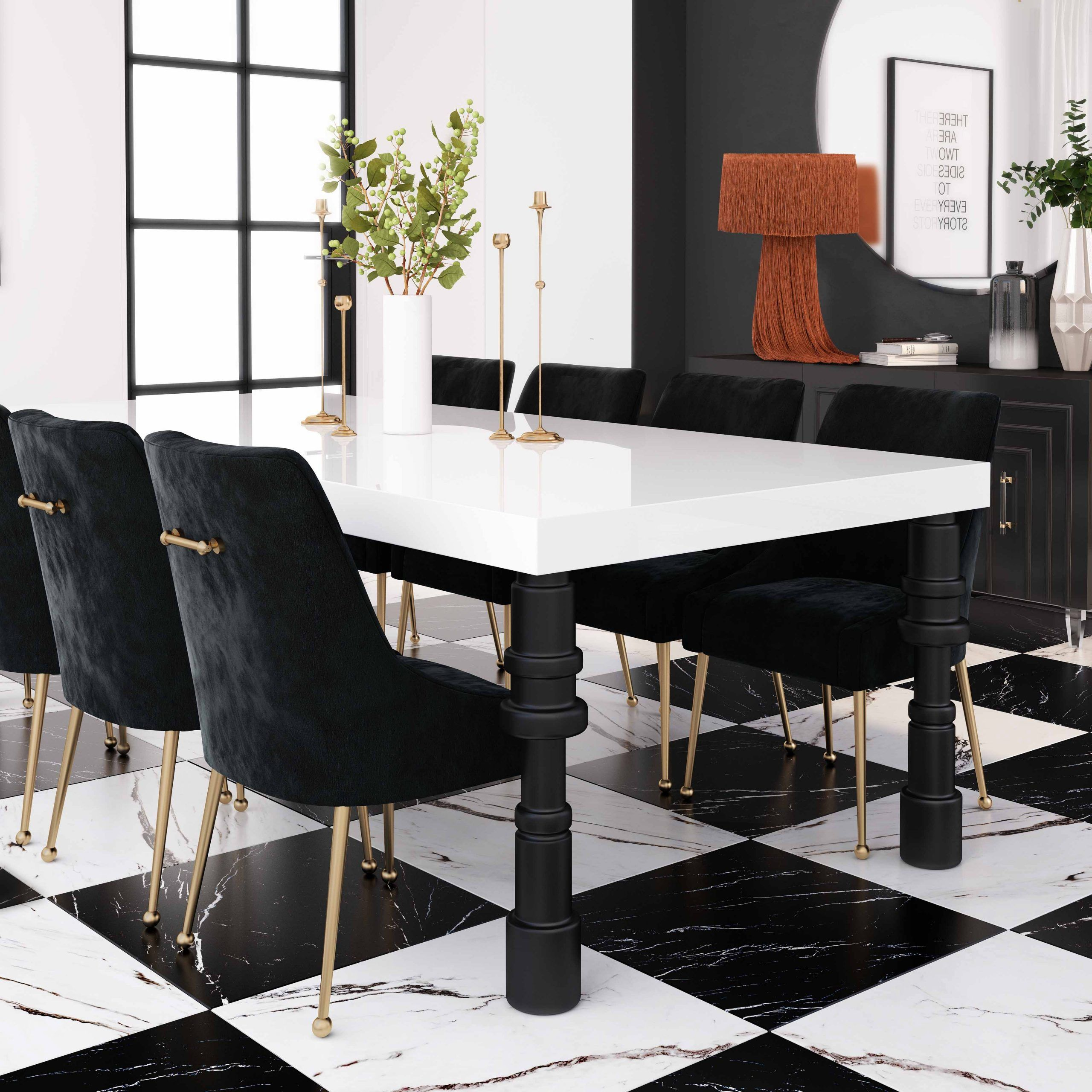 Spindle Dining Table Tov Furniture In 2021 Black Dining Room Black And White Dining Room Concrete Dining Table