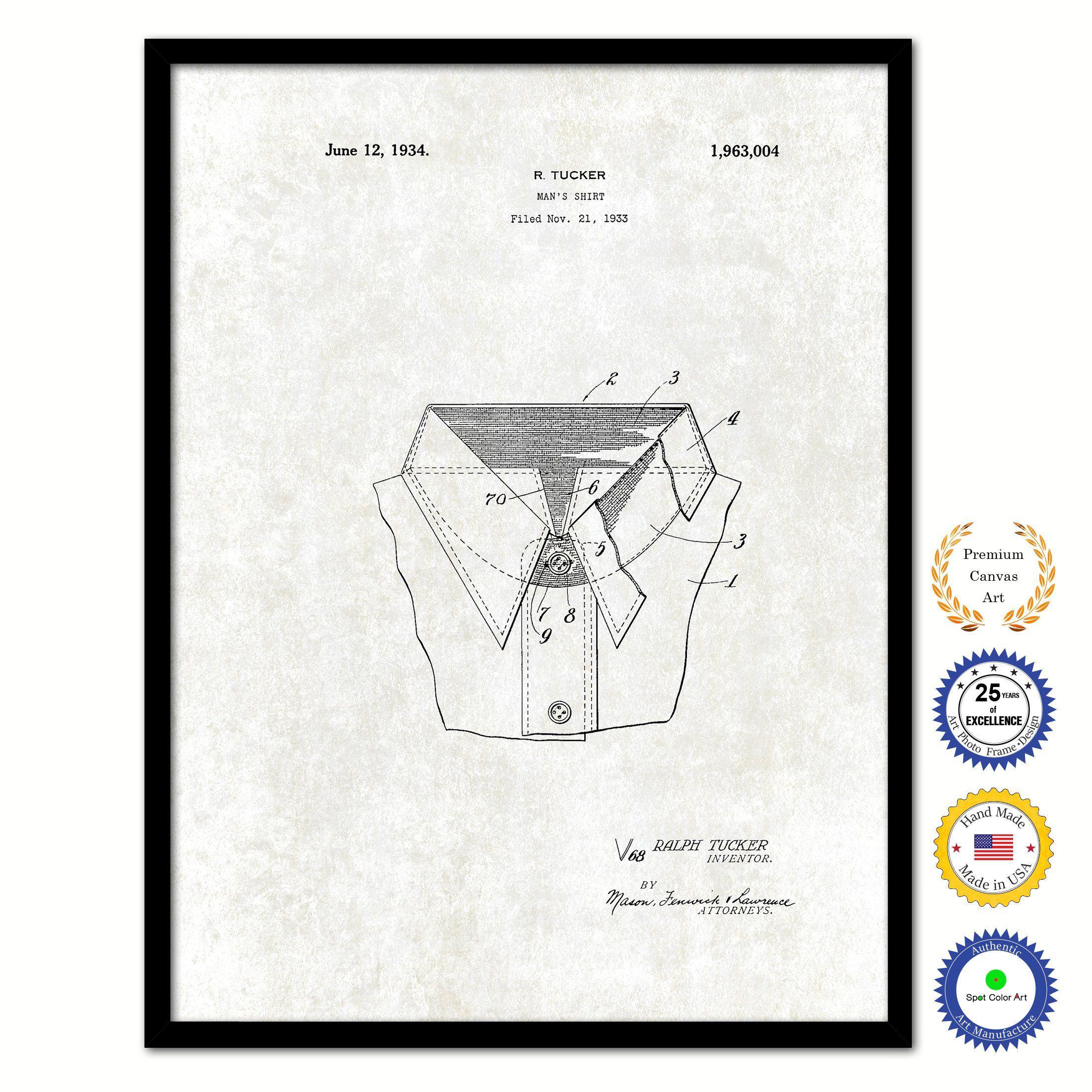 1934 Mans Shirt Clothes Vintage Patent Artwork Black Framed Canvas