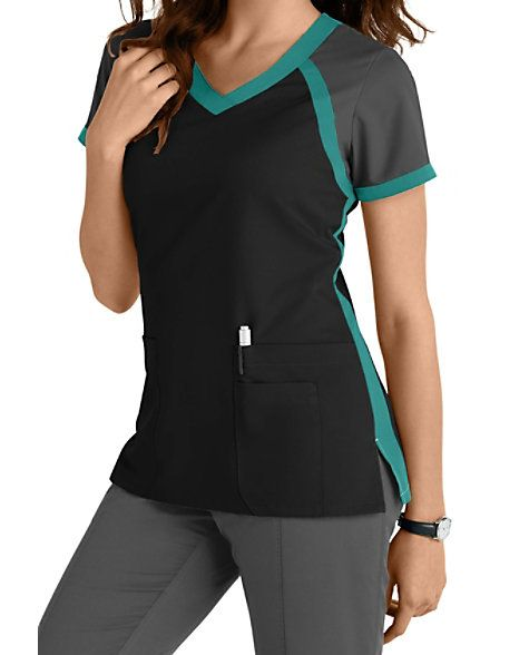 1b9ff4a8401 This athletically-inspired scrub top from the popular Grey's Anatomy brand  gives you a fresh look for the season! A color block crossover v-neck  design ...