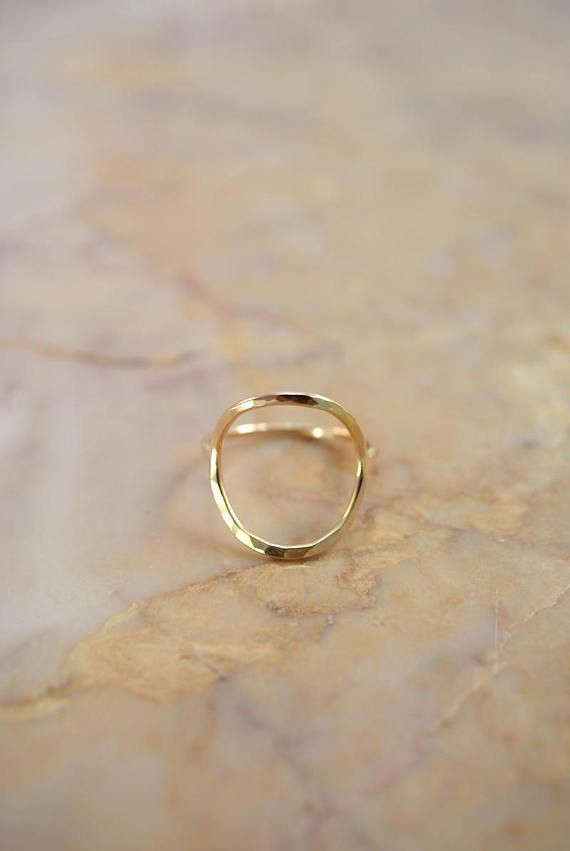bed4209cd1e67 SOLID 14K Gold Thick Circle Ring, gold circle ring, skinny or thick ...