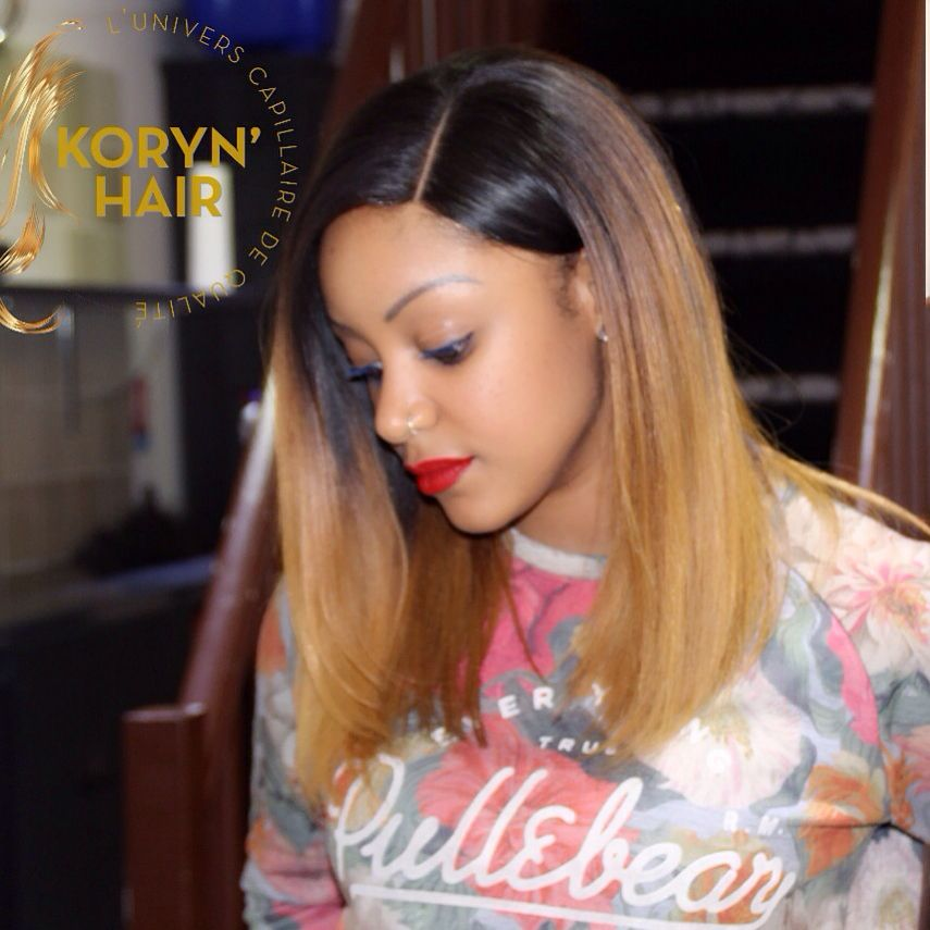 Bob hairstyle with top Closure + ombre hair By KORYN HAIR PARIS -------- Creation perruque avec ...