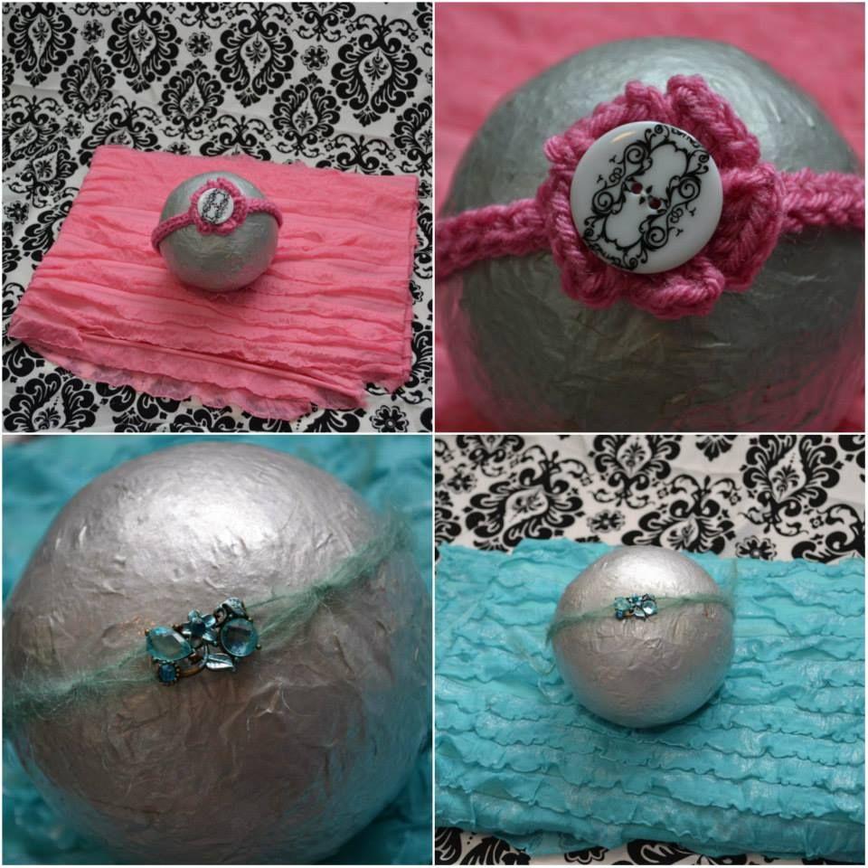 5-piece Newborn Photo Prop Set. INCLUDES: black & white damask fabric background, 2 stretch ruffle wraps, pink crocheted headband, and aqua jeweled tie-back. $38.00