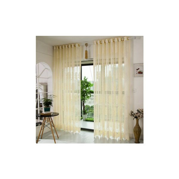 2 Panel Jacquard Hollow Out Punching Window Screening Sheer Curtains