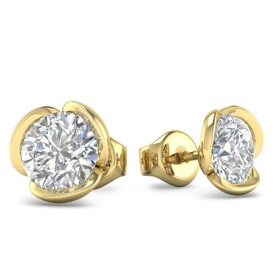 14K Yellow and White CZ Round Bar Earrings  yw