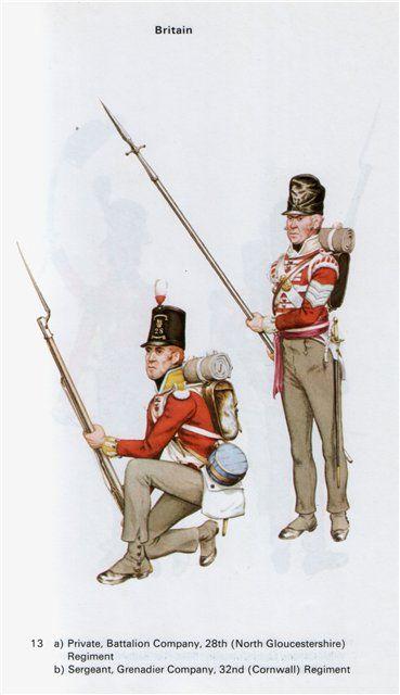 Fuciliere delle compagnie del centro del 28 rgt. di fanteria inglese e sergente della compagnia granatieri del 32 rgt. di fanteria inglese