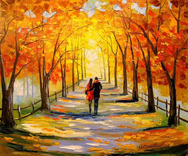 Autumn Walk By Olha Darchuk Landscape Art Landscape Paintings Art