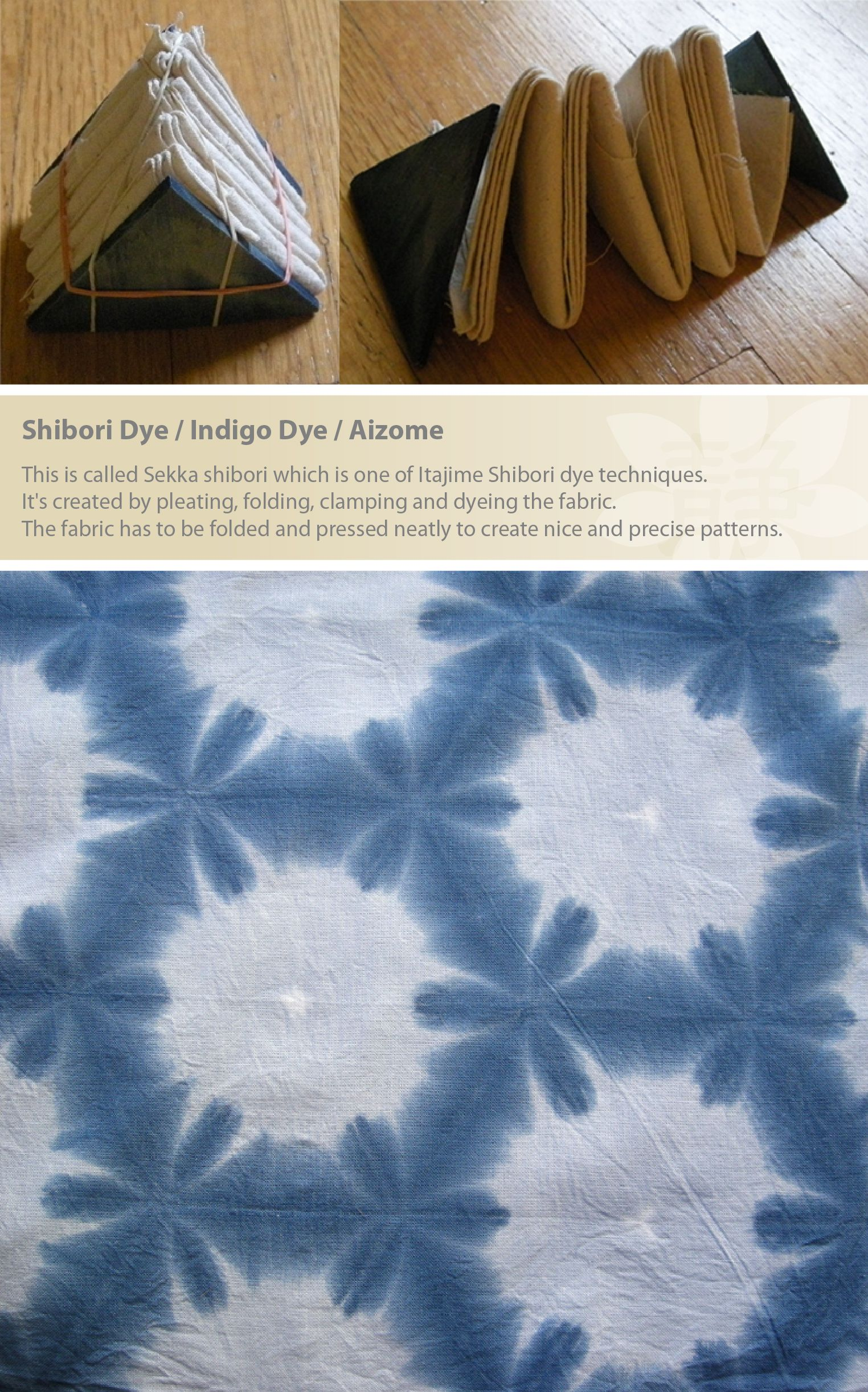 5bf3394a43f33 This is called Sekka shibori which is one of Itajime Shibori dye  techniques. It's created by pleating, folding, clamping and dyeing the  fabric.