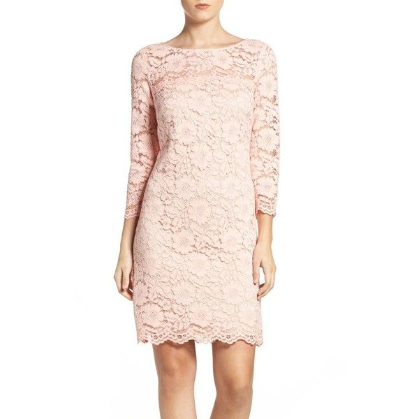 5d10a487 Petite Women's Vince Camuto Lace Sheath Dress (€140) ❤ liked on Polyvore  featuring dresses, blush, petite, sheer lace dress, see-through dresses, ...