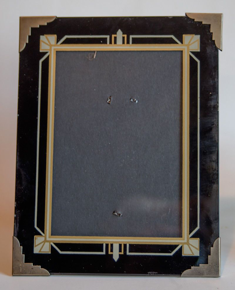 Unique Vintage Art Deco Reverse Glass Picture Frame Exc
