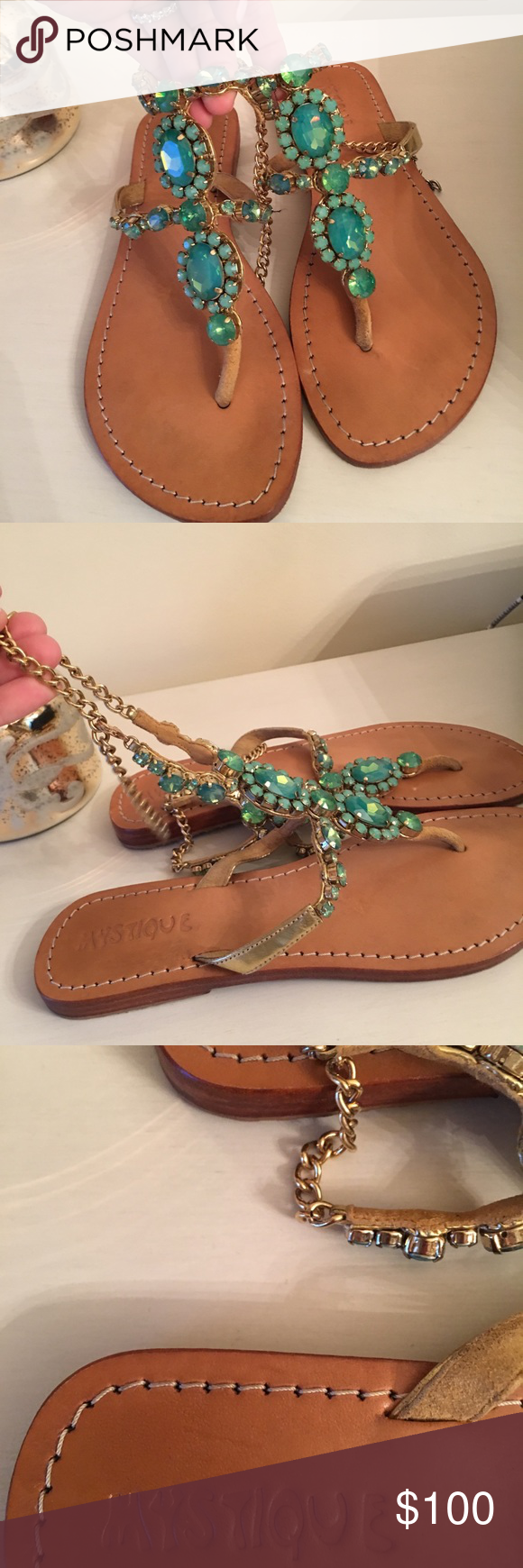 5af5258db1e3a7 The color is a turquoise teal kind of green with gold sides and chain Mystique  Boutique Shoes Sandals