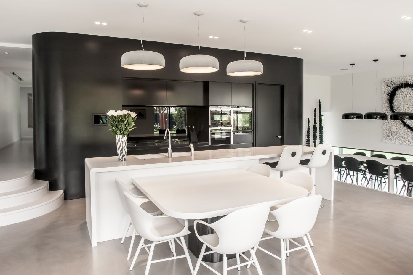 Marvelous Beautiful Use Of Deep Colour Corian® And A Light Colour Corian® In The  Kitchen Benchtops. The Black And White Combination Brings An Elegance To  This Room. Images