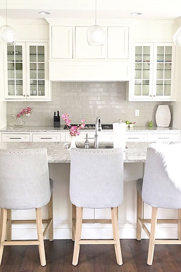 White Kitchen White Cabinets Glass Cabinet Door Counter Stools Prepossessing Counter Stools For Kitchen 2018