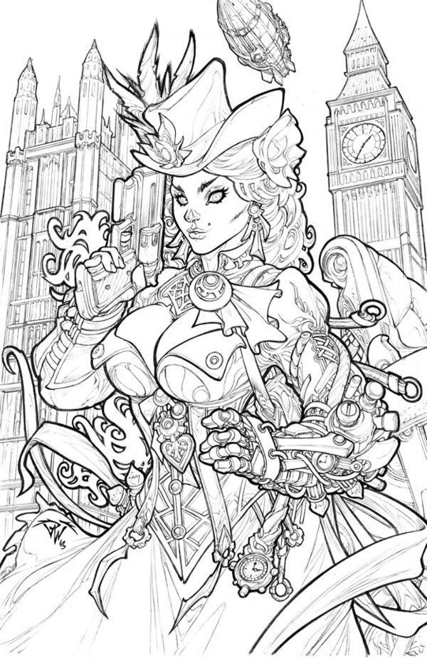 victorian steampunk coloring pages - photo#14