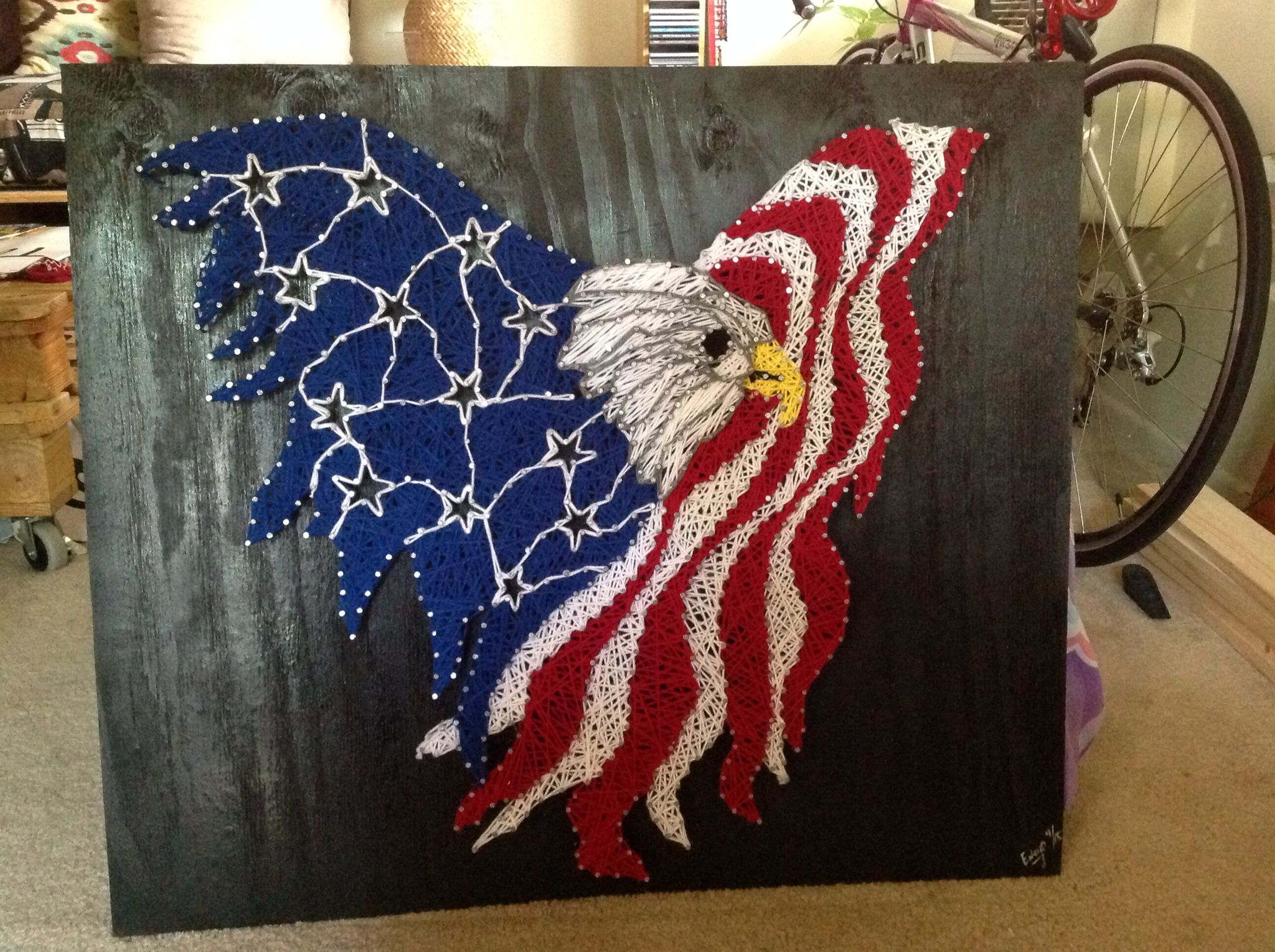 American Eagle with usa flag string art! - String Art | Pinterest ...