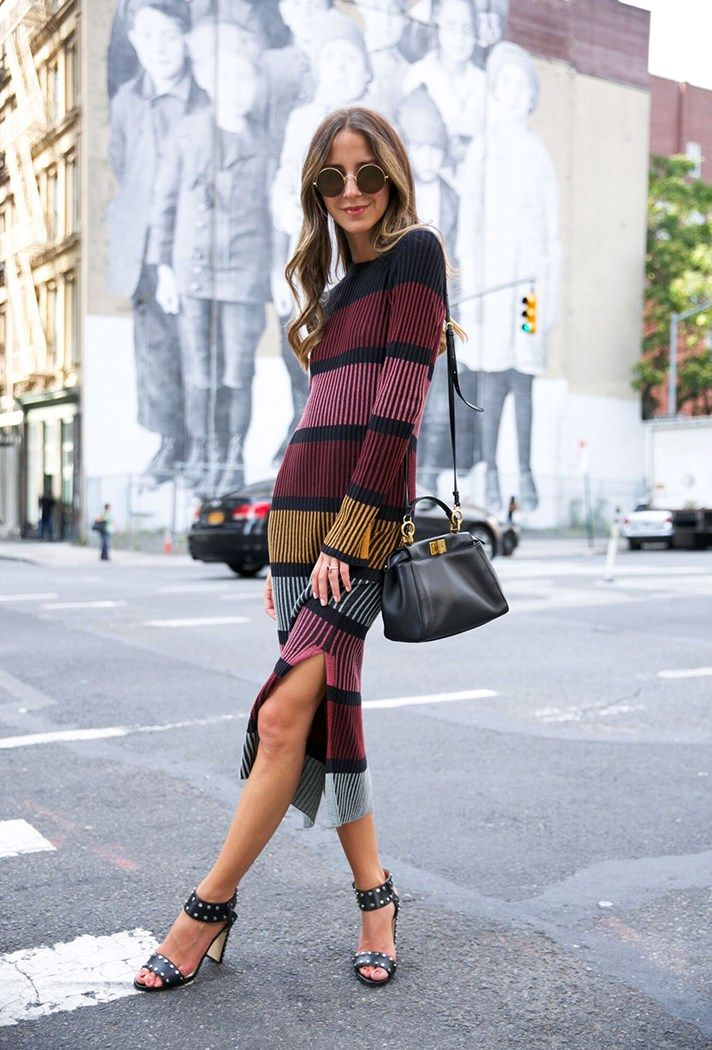 Stripe sweater dress, midi length   25 work outfit ideas that are professional AND trendy   Office outfit ideas for women   Fall 2016
