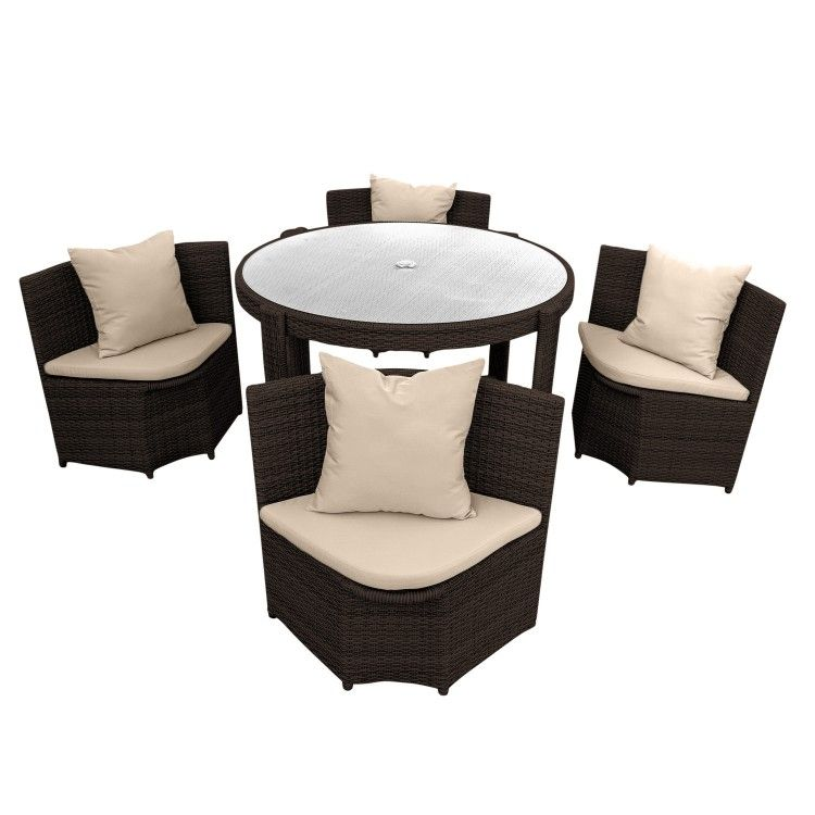 Gartenmobel Sitzgruppe Mobel Polyrattan 1 Tisch 4 Stuhle Polster Braun Online Kaufen Sitzgruppe Gartenmobel Mobel