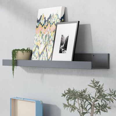 Red Barrel Studio Forsyth Wood Floating Wall Shelf Finish Gray In