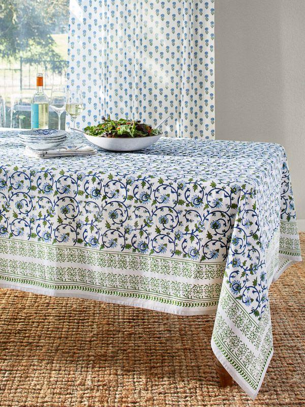 Moonlit Taj Elegant Floral Turquoise Indian Tablecloth