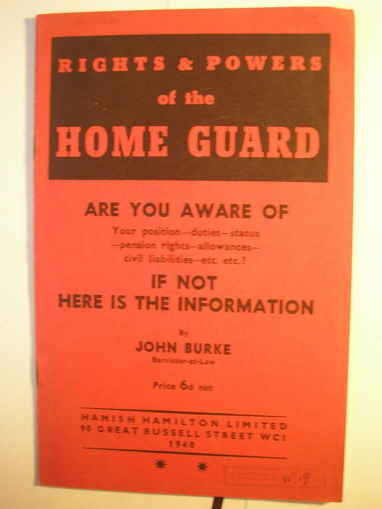 Home Guard Training Manual Rights and Powers 1940 British Army - training manual