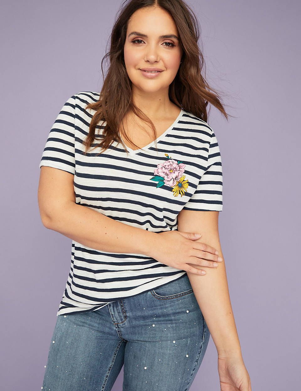 a65566069ff Floral Graphic Striped V-Neck Tee