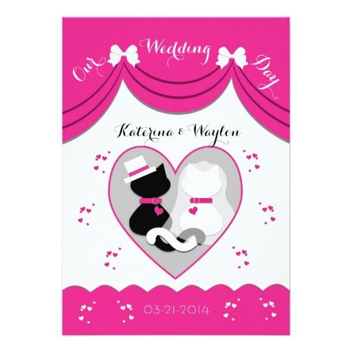 Cute Pink Cat Wedding Couple Invitations | Cat Lovers Wedding ...