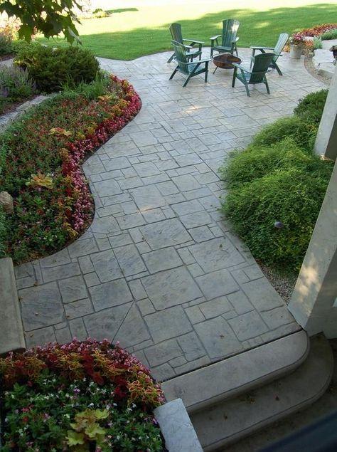 Landscape ideas concrete stamped patio flooring contemporary patio