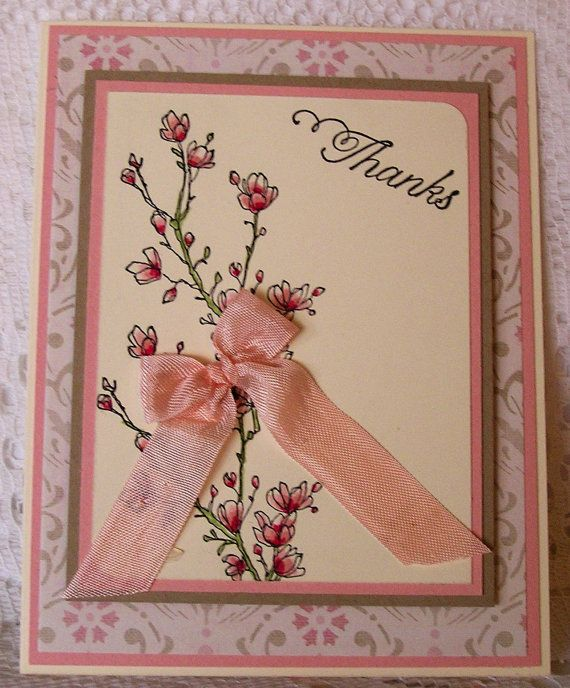 Stampin' up Thank you handmade card by JulieAnnesTreasures on Etsy, $4.50
