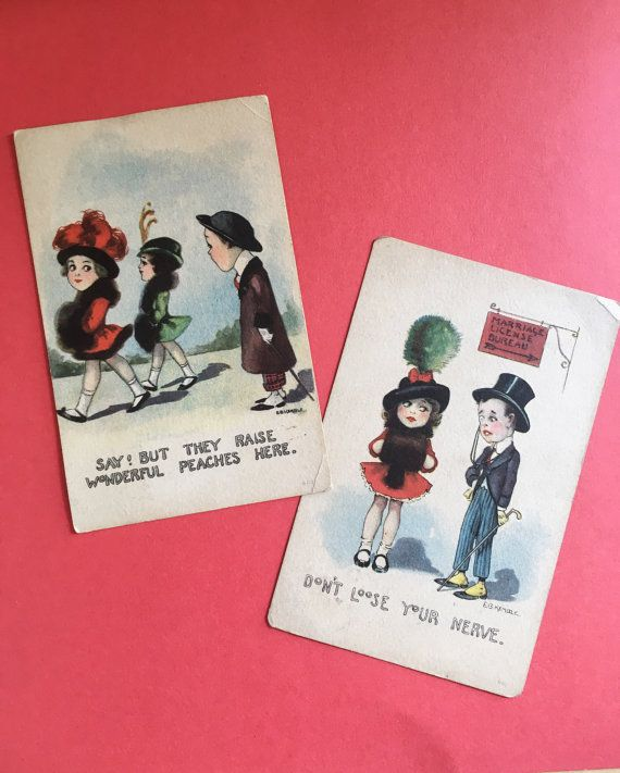 Pair of EB Kemble Postcards by KitschyKateVintage on Etsy