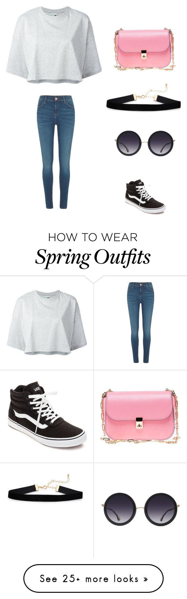 """Casual outfit for the spring"" by gisellemybell on Polyvore featuring Puma, River Island, Valentino, Vans and Alice + Olivia"