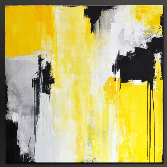Medallion Abstract Acrylic Painting 36 x 36 by ... Yellow Black Abstract Paintings