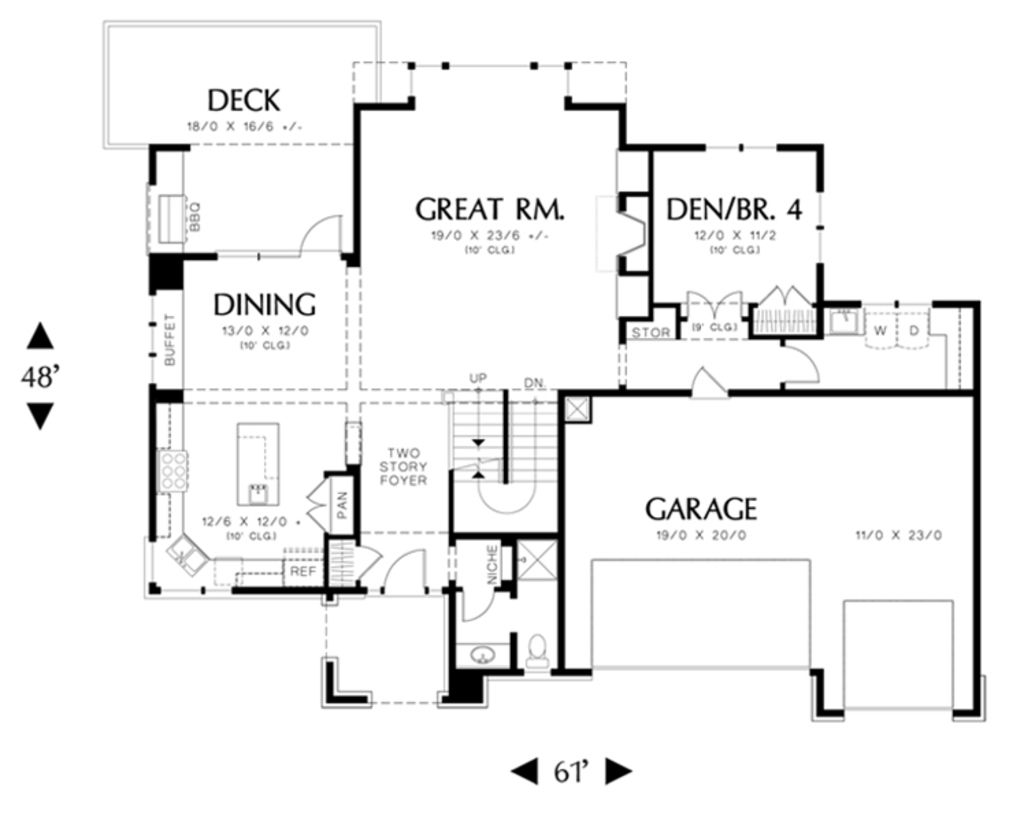 Prairie Style House Plan 5 Beds 4 Baths 3916 Sq Ft Plan 48 464 House Plans Outdoor Kitchen Design Prairie Style Houses