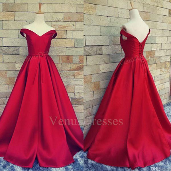 Hot Red Sexy Off-shoulder V-neck Long Prom Dress Formal Dress Red Carpet Dress