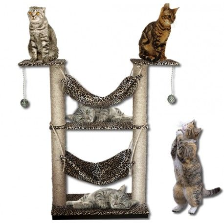 Este cómodo mueble Gimnasio para gatos, consta de: 2 plataformas de ...