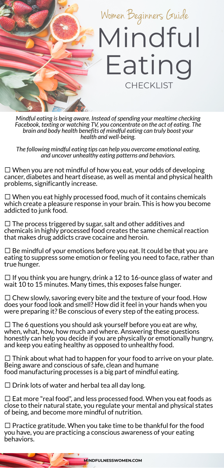 Mindful Eating Checklist #nutritionhealthyeating