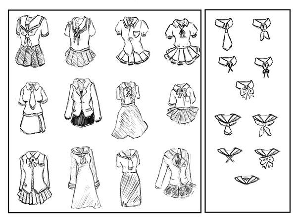 Anime School Girl Uniforms By Sarcasticlittledevil On Deviantart Anime School Girl Manga School Drawing Anime Clothes