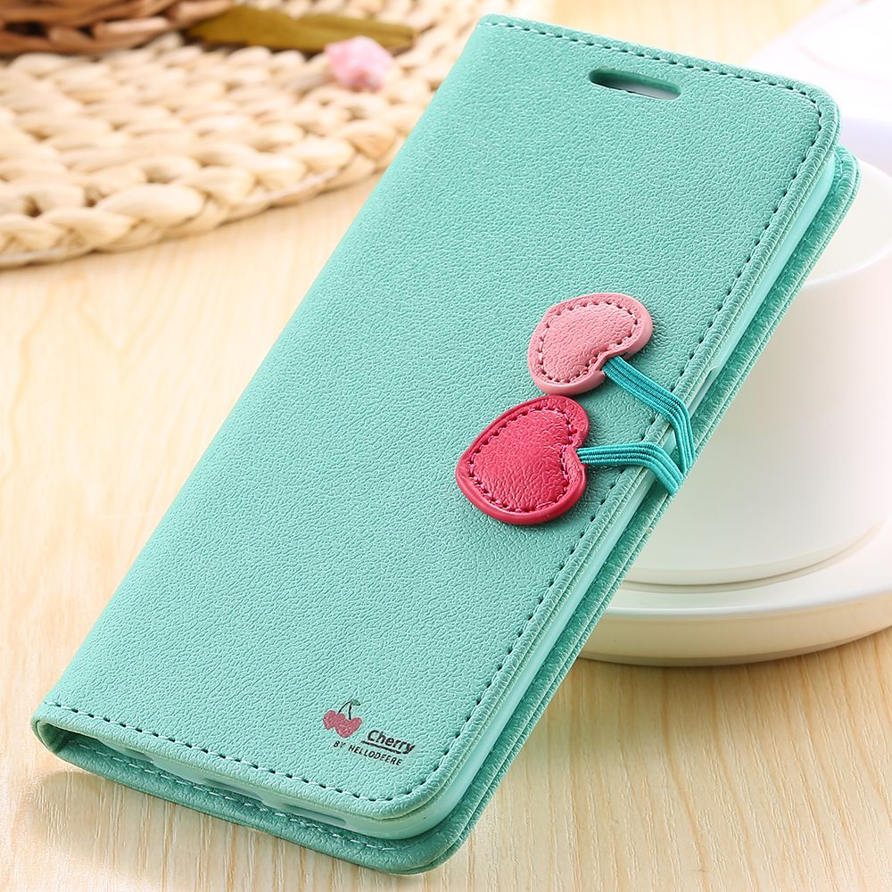 samsung galaxy s6 phone cases for girls. kisscase fashion girl cherry flip case for samsung s7 s6 edge plus card slot wallet holster galaxy phone cases girls