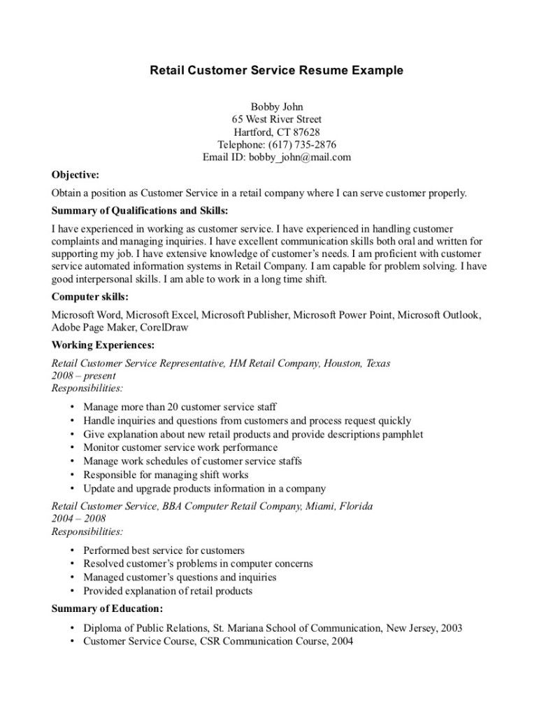 Sample Resume For Customer Service Representative Retail Simple