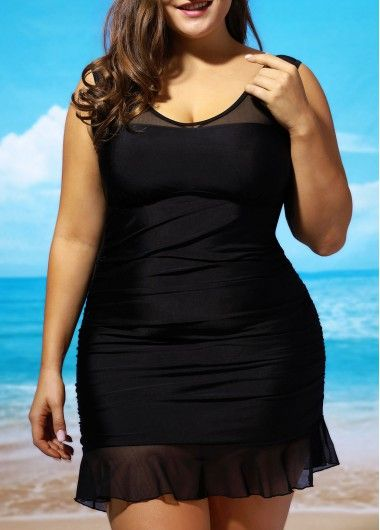 V Neck Lace Panel Swimdress and Panty on sale only US$28 64 now