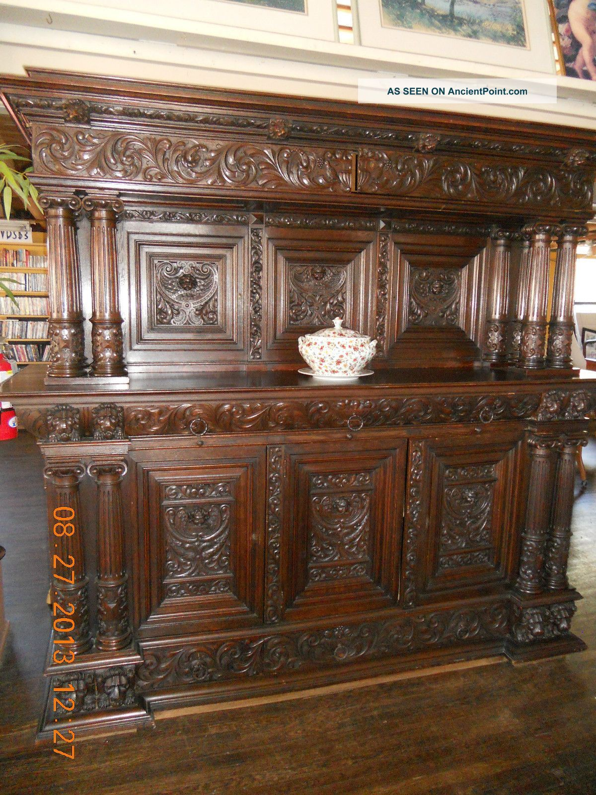 antique hand carved buffet,1800's or early1900's, from