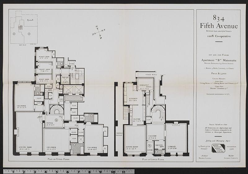 834 Fifth Avenue B Maisonette New York Townhouse Apartment Floor Plans Floor Plans